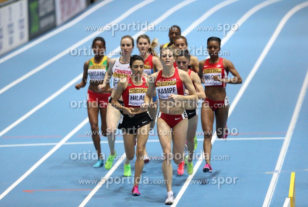 08.03.2014, Ergo Arena, Sopot, POL, IAAF, Leichtathletik Indoor WM, Sopot 2014, im Bild Abeba Aregawi (Sweden) wins 1500 Metres final Heater Kampf (USA) and Siham Hilali (Morocco) (L) compaetite during the run // Abeba Aregawi (Sweden) wins 1500 Metres final Heater Kampf (USA) and Siham Hilali (Morocco) (L) compaetite during the run during day two of IAAF World Indoor Championships Sopot 2014 at the Ergo Arena in Sopot, Poland on 2014/03/08. EXPA Pictures © 2014, PhotoCredit: EXPA/ Newspix/ Michal Fludra<br /> <br /> *****ATTENTION - for AUT, SLO, CRO, SRB, BIH, MAZ, TUR, SUI, SWE only*****