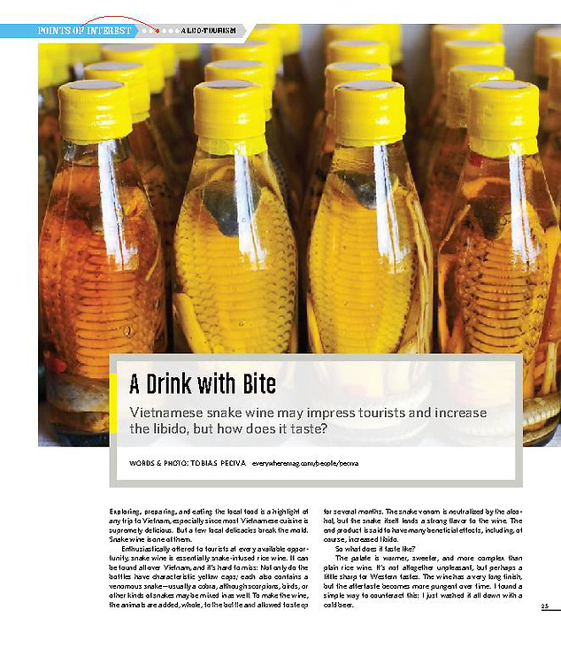 Article about Vietnamese snake wine. Words and photo by Tobias Peciva. Published in issue 4 of travel magazine Everywhere.