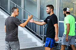 Jure Vnuk and Zan Jezovsek during arrival of athletes of HK SZ Olimpija before Season 2019/20, on July 29, 2019 in Hala Tivoli, Ljubljana, Slovenia. Photo by Matic Klansek Velej / Sportida