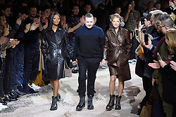 Naomi Campbell, desginer Kim Jones and Kate Moss walk the runway at the Louis Vuitton Homme show during Paris Men's Fashion Week Fall/Winter 2018-2019 on January 18, 2018 in Paris, France. Photo by Aurore Marechal/ABACAPRESS.COM    622177_026 Paris France