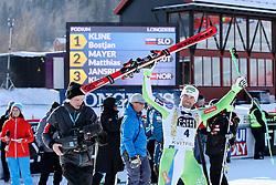 24.02.2017, Kvitfjell, NOR, FIS Weltcup Ski Alpin, Kvitfjell, Abfahrt, Herren, im Bild Bostjan Kline (SLO) // Winner Boštjan Kline of Slovenia at trophy ceremony after the men's downhill of FIS Ski Alpine World Cup at the Kvitfjell, Norway on 2017/02/24. PhotoCredit: Jonnas Ericcsson / Sportida