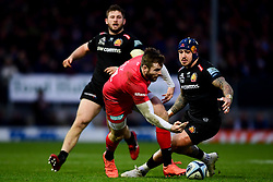 Jack Nowell of Exeter Chiefs puts pressure on Elliot Daly of Saracens - Mandatory by-line: Ryan Hiscott/JMP - 29/12/2019 - RUGBY - Sandy Park - Exeter, England - Exeter Chiefs v Saracens - Gallagher Premiership Rugby