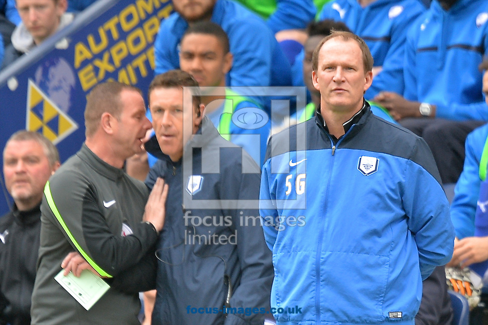 Preston North End manager Simon Grayson (right) during the Sky Bet League 1 playoff match at Deepdale, Preston<br /> Picture by Ian Wadkins/Focus Images Ltd +44 7877 568959<br /> 10/05/2015