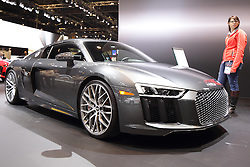 11 February 2016:  Audi R8 V10 Plus.<br /> <br /> First staged in 1901, the Chicago Auto Show is the largest auto show in North America and has been held more times than any other auto exposition on the continent.  It has been  presented by the Chicago Automobile Trade Association (CATA) since 1935.  It is held at McCormick Place, Chicago Illinois<br /> #CAS16