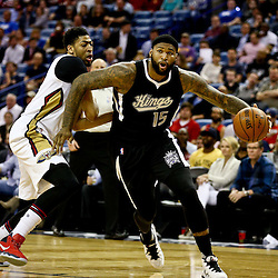Mar 7, 2016; New Orleans, LA, USA; Sacramento Kings center DeMarcus Cousins (15) is defended by New Orleans Pelicans forward Anthony Davis (23) during the second quarter of a game at the Smoothie King Center. Mandatory Credit: Derick E. Hingle-USA TODAY Sports