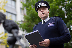 © licensed to London News Pictures. London, UK 29/05/2013. Police Commander Simon Letchford speaking in a press conference at the scene where Drummer Lee Rigby was murdered by two men in Woolwich town centre in what is being described as a terrorist attack. Photo credit: Tolga Akmen/LNP