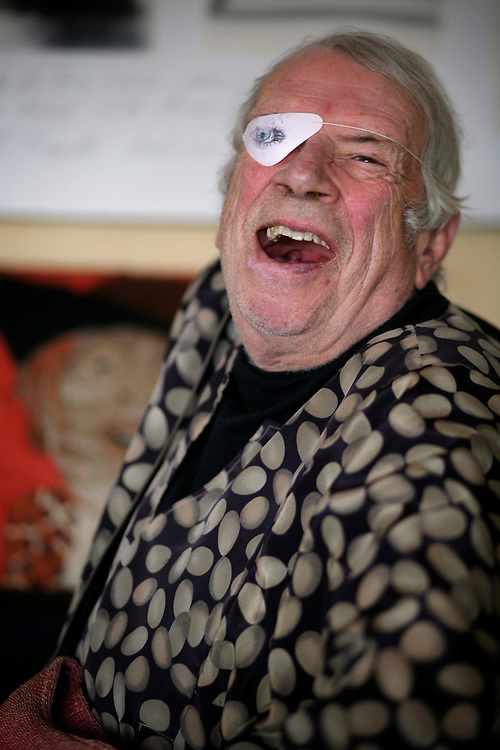 Jazz singer George Melly photographed at his home in West London.