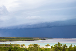 Wet season storm clouds gather over Broome's Roebuck Bay.
