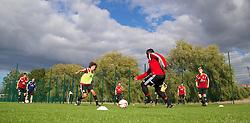 NEWPORT, WALES - Wednesday, September 24, 2014: Wales' Ethan Ampadu and Ibi Sosani training at Dragon Park ahead of the Under-16's International Friendly match against France. (Pic by David Rawcliffe/Propaganda)