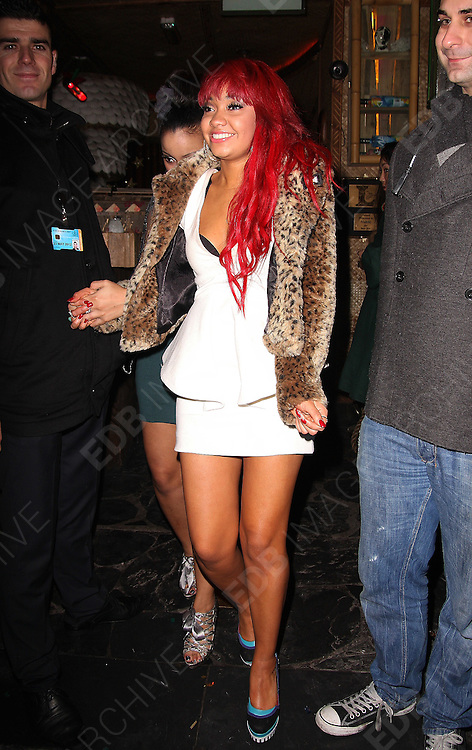 31.DECEMBER.2011 LONDON<br /> <br /> LEIGH-ANNE PINNOCK OF LITTLE MIX LEAVING MAHIKI NIGHT CLUB IN MAYFAIR AFTER SPENDING NEW YEARS EVE THERE WITH BANDMATE JESY NELSON AND OTHER FRIENDS.<br /> <br /> BYLINE: EDBIMAGEARCHIVE.COM<br /> <br /> *THIS IMAGE IS STRICTLY FOR UK NEWSPAPERS AND MAGAZINES ONLY*<br /> *FOR WORLD WIDE SALES AND WEB USE PLEASE CONTACT EDBIMAGEARCHIVE - 0208 954 5968*