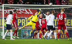 Falkirk's keeper Michael McGovern saves. Falkirk 0 v 5 Aberdeen, the third round of the Scottish League Cup.<br /> &copy;Michael Schofield.