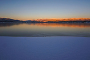 Sunset at Shore Lodge with view of Payette lake during winter.