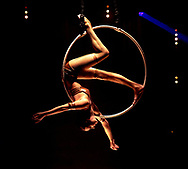 24th November 2017, La Soiree at the Aldwych Theatre. <br /> Lea Hinz performs on the Arial Hoop.24th November 2017, La Soiree at the Aldwych Theatre.