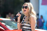 Laura Bell Bundy performs in the IPL 500 Festival Parade in Indianapolis, Indiana.
