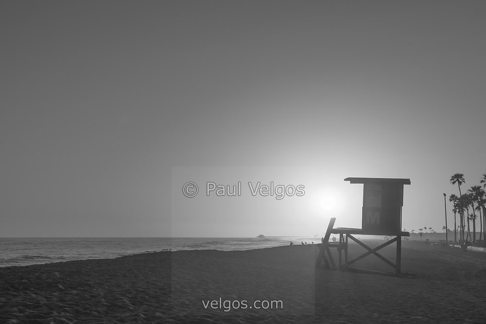 Black And White Newport Beach Lifeguard Tower M Sunset Photo Is A Popular
