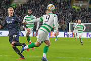 Leigh Griffiths of Celtic FC with a header during the Europa League match between Celtic and FC Copenhagen at Celtic Park, Glasgow, Scotland on 27 February 2020.