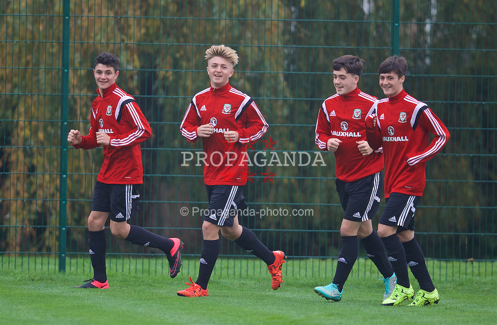 NEWPORT, WALES - Monday, November 2, 2015: Wales' Steffan Buckeley, Keiron Proctor, Mathew Jake Nicholls and Mason Jones-Thomas during a training session ahead of the Under-16's Victory Shield International match at Dragon Park. (Pic by David Rawcliffe/Propaganda)