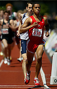05/23/2009 - Lincoln's Nathan Mathabane (636) leads Lake Oswego's Elijah Greer (585) for the time being as they compete in the 6A Boy's 1500 Meter Run. The 2009 OSAA/U.S. Bank/Les Schwab Tires 6A-5A-4A Track and Field State Championships were run at Hayward Field in Eugene, Oregon.....KEYWORDS:  City, Portland, sports, Oregon, high school, OSAA, boys, girls, PIL, run, University, team