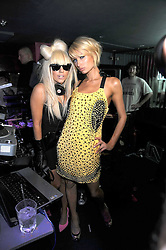 Left to right, Singer LADY GAGA and PARIS HILTON at the launch party of the Nokia 5800 phone held at PUNK 14 Soho Street, London W1 on 27th January 2009.