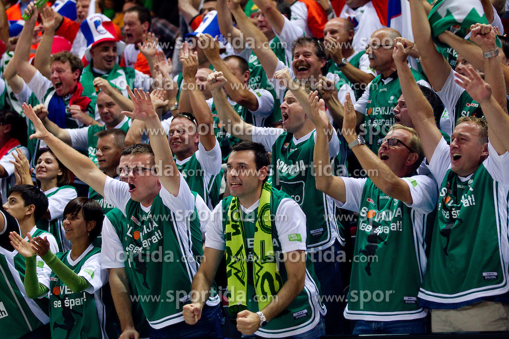 Fans of Slovenia during basketball match between National teams of Slovenia and Georgia in Group D of Preliminary Round of Eurobasket Lithuania 2011, on September 3, 2011, in Arena Svyturio, Klaipeda, Lithuania. Slovenia defeated Georgia 87-75. (Photo by Vid Ponikvar / Sportida)