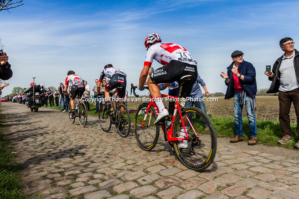 Leading group with Jelle WALLAYS of Lotto Soudal at the 4 star cobblestone sector 17 from Hornaing to Wandignies during the 2018 Paris-Roubaix race, France, 8 April 2018, Photo by Thomas van Bracht / PelotonPhotos.com | All photos usage must carry mandatory copyright credit (Peloton Photos | Thomas van Bracht)