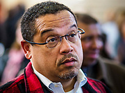 16 MARCH 2019 - BLOOMINGTON, MINNESOTA, USA: KEITH ELLISON, Minnesota Attorney General, at Dar al Farooq Center in Bloomington. An interdenominational crowd of about 1,000 people came to the center to protest white supremacy and religious intolerance and to support Muslims in New Zealand who were massacred by a white supremacist Friday. The Twin Cities has a large Muslim community following decades of Somali immigration to Minnesota. There are about 45,000 people of Somali descent in the Twin Cities.    PHOTO BY JACK KURTZ