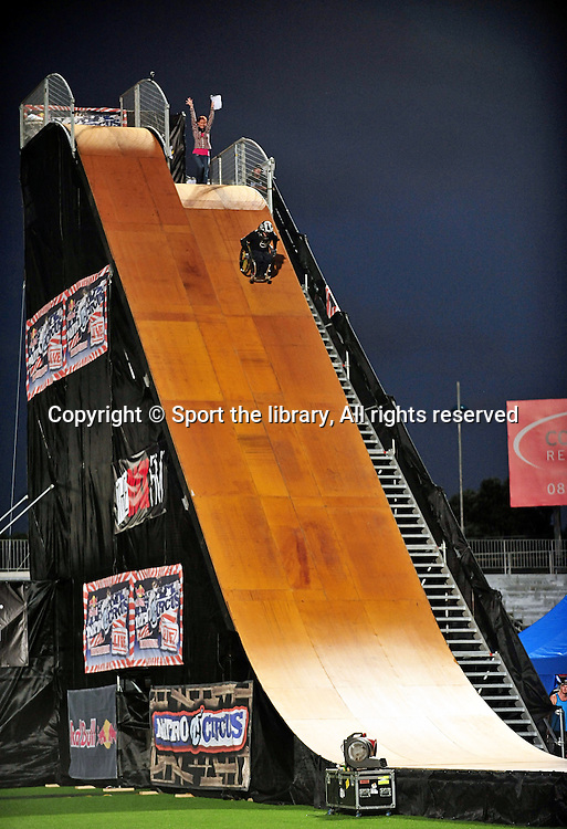 Aaron &quot;Wheelz&quot; Fatheringham<br /> 2011 Nitro Circus Live Tour<br /> Auckland New Zealand<br /> North Harbour Stadium<br /> Saturday Febraury 4th <br /> &copy; Sport the library / Jeff Crow