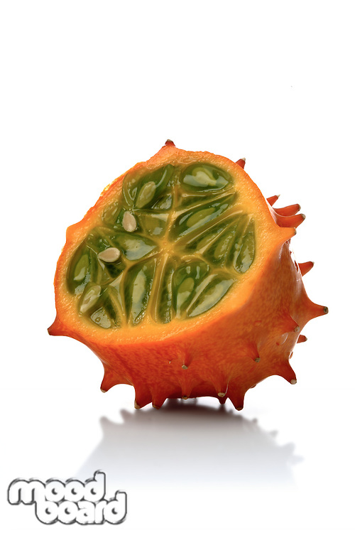 Studio soht of kiwano on white background