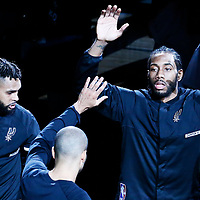 01 May 2017: San Antonio Spurs forward Kawhi Leonard (2) and San Antonio Spurs guard Patty Mills (8) are seen during the players introduction prior to the Houston Rockets 126-99 victory over the San Antonio Spurs, in game 1 of the Western Conference Semi Finals, at the AT&T Center, San Antonio, Texas, USA.