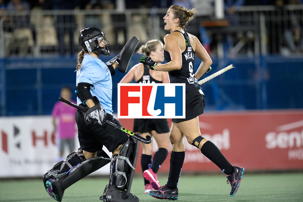 AUCKLAND - Sentinel Hockey World League final women<br /> Match id: 10310<br /> 20 ENG v NZL (Semi Final) 0-1<br /> New Zealand play the final<br /> Foto:  Sally Rutherford (Gk) and Brooke Neal celebrate the 0-1<br /> WORLDSPORTPICS COPYRIGHT FRANK UIJLENBROEK