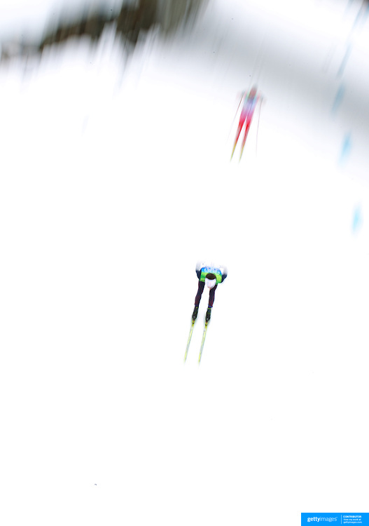 Winter Olympics, Vancouver, 2010.Skiiers in action during the Cross Country Skiing, Men's 50 KM Mass start at Whistler Olympic Park, Whistler, during the Vancouver Winter Olympics. 28th February 2010. Photo Tim Clayton
