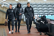 Joselu (#21) of Newcastle United makes a face for a photo as he arrives along with Javi Manquillo (#19) of Newcastle United and Mohamed Diame (#10) of Newcastle United during the Premier League match between Newcastle United and West Ham United at St. James's Park, Newcastle, England on 1 December 2018.