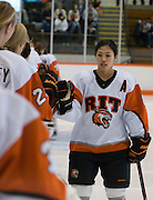 2012/03/04 - RIT forward Ariane Yokoyama is announced before the ECAC West Championship game between RIT and SUNY Plattsburgh at RIT's Ritter Arena on March 4th, 2012. RIT lead 1-0 after one period of play.