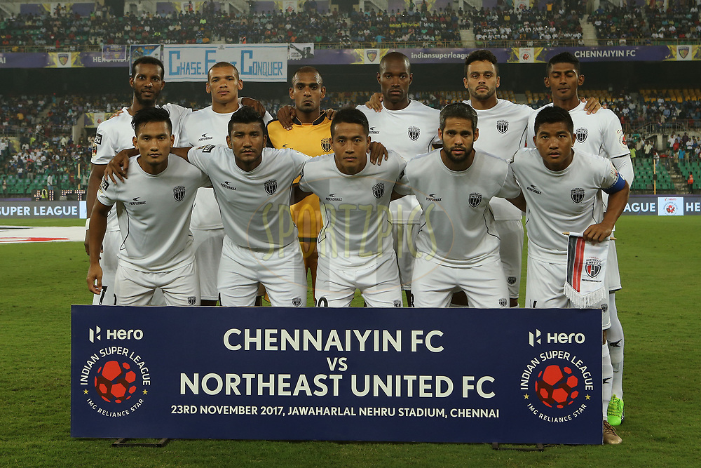 NorthEast United FC during match 6 of the Hero Indian Super League between Chennaiyin FC and NorthEast United FC held at the Jawaharlal Nehru Stadium, Chennai, India on the 23rd November 2017<br /> <br /> Photo by: Ron Gaunt / ISL / SPORTZPICS
