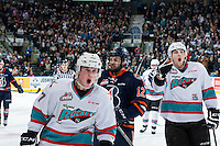 KELOWNA, CANADA - MARCH 25: Lucas Johansen #7 and Tomas Soustal #15 of Kelowna Rockets celebrate the first goal of the game against the Kamloops Blazers on March 25, 2016 at Prospera Place in Kelowna, British Columbia, Canada.  (Photo by Marissa Baecker/Shoot the Breeze)  *** Local Caption *** Lucas Johansen; Tomas Soustal;