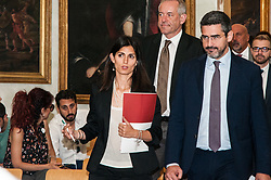 July 4, 2018 - Rome, Italy, Italy - Virginia Raggi,Riccardo Fraccaro,Bruno Kaufmann during the press conference for the presentation of ''Global Forum on Modern Direct Democracy 2018'', in Rome, Italy, on July 4, 2018. From 26 to 29 September Rome will host the ''Global Forum on Modern Direct Democracy 2018'', the international event that aims to develop and promote the active participation of citizens in national and local policies through the promotion of instruments of direct democracy. (Credit Image: © Andrea Ronchini/NurPhoto via ZUMA Press)