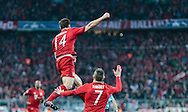 Xabi Alonso of Bayern Munich celebrates scoring their first goal during the UEFA Champions League match at Allianz Arena, Munich<br /> Picture by EXPA Pictures/Focus Images Ltd 07814482222<br /> 03/05/2016<br /> ***UK &amp; IRELAND ONLY***<br /> EXPA-FEI-160503-5017.jpg