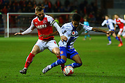 Fleetwood Town Midfielder Jimmy Ryan challenges during the Sky Bet League 1 match between Fleetwood Town and Walsall at the Highbury Stadium, Fleetwood, England on 15 March 2016. Photo by Pete Burns.