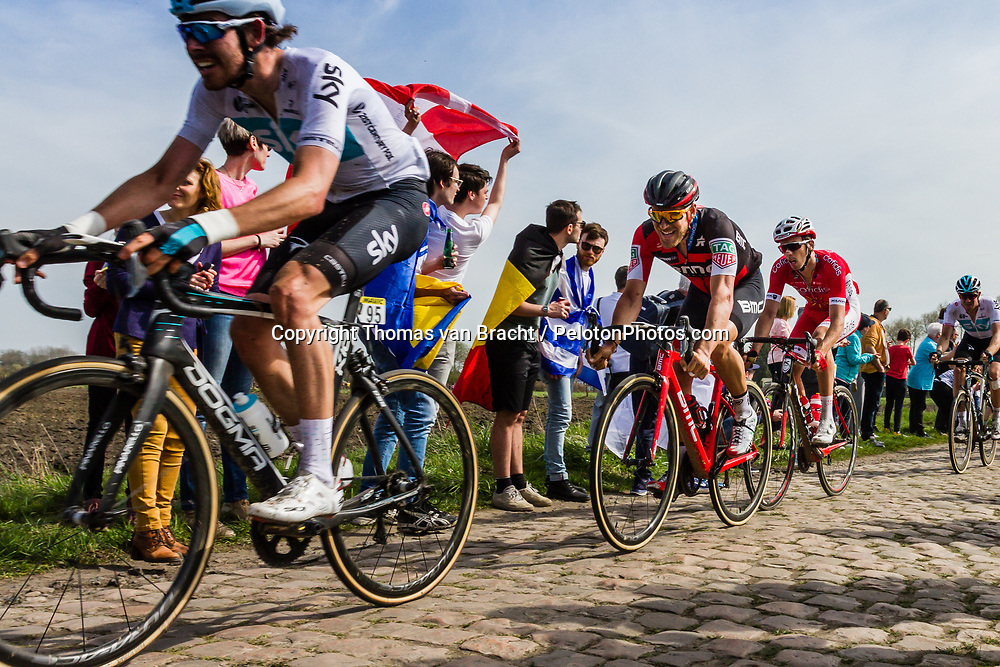 Riders at the 4 star cobblestone sector 17 from Hornaing to Wandignies during the 2018 Paris-Roubaix race, France, 8 April 2018, Photo by Thomas van Bracht / PelotonPhotos.com | All photos usage must carry mandatory copyright credit (Peloton Photos | Thomas van Bracht)