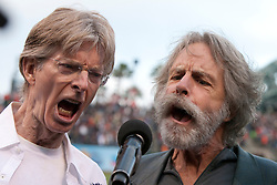 August 9, 2010; San Francisco, CA, USA;  Former Grateful Dead band members Bob Weir (right) and Phil Lesh (left) sing the national anthem as part of a tribute to Jerry Garcia before the game between the San Francisco Giants and the Chicago Cubs at AT&T Park.