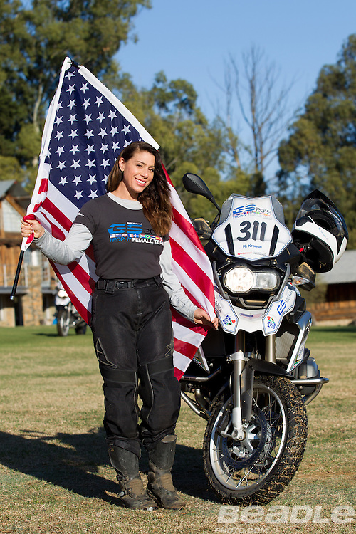 Kim Krause from the United States of America participating in the inaugural GS Trophy Female qualifying event at the 2015 BMW Motorrad GS Trophy Female Team Qualifying Event held at Countrytrax Amersfoort, South Africa. Image by Greg Beadle