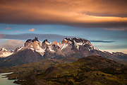 Windcloud over Cuernos del Paine at dawn, Lago Pehoe, Parque Nacional Torres del Paine, Patagonia, Chile.