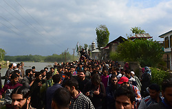 May 3, 2019 - Srinagar, Kashmir, India - People attend the funeral of Slain top rebel commander Lateef Ahmad Dar alias Lateef Tiger  in Shopian district of Kashmir on 03 May 2019. Three Rebels were killed in an early morning encounter with Indian Government forces in Adkhara village of south Kashmir's Shopian District. The slain Rebels were identified as Tariq Ahmed of Shopian, Shariq Ahmad of Shopian and Muhammad Lateef Dar alias Lateef Tiger of Dogripora village of Pulwama district. Muhammad Lateef Dar alias Lateef Tiger was a top Hizbul Mujahideen commander and a close associate of the slain Hizb commander Burhan Muzaffar Wani. (Credit Image: © Muzamil Mattoo/NurPhoto via ZUMA Press)