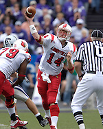 Louisville quarterback Hunter Cantwell (14) fires the ball down field against Kansas State at Bill Snyder Family Stadium in Manhattan, Kansas, September 23, 2006.  The 8th ranked Louisville Cardinals beat K-State 24-6.