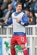 Ben Tomlinson (Carlisle United) chats to the fans as he warms up on the sideline during the EFL Sky Bet League 2 match between Hartlepool United and Carlisle United at Victoria Park, Hartlepool, England on 14 April 2017. Photo by Mark P Doherty.