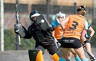GRONINGEN - Hoofdklasse dames.<br /> Groningen v HDM<br /> Foto:  ingrijpen van Jantien Gunter bij een strafcorner.<br /> WORLDSPORTPICS COPYRIGHT FRANK UIJLENBROEK