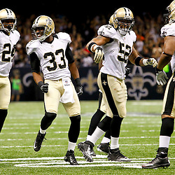 September 23, 2012; New Orleans, LA, USA; New Orleans Saints cornerback Jabari Greer (33) celebrates with teammates after an interception during the second half of a game against the Kansas City Chiefs at the Mercedes-Benz Superdome. The Chiefs defeated the Saints 27-24 in overtime. Mandatory Credit: Derick E. Hingle-US PRESSWIRE