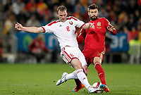 Spain's Gerard Pique (r) and Belarus' Sergei Kornilenko during 15th UEFA European Championship Qualifying Round match. November 15,2014.(ALTERPHOTOS/Acero)