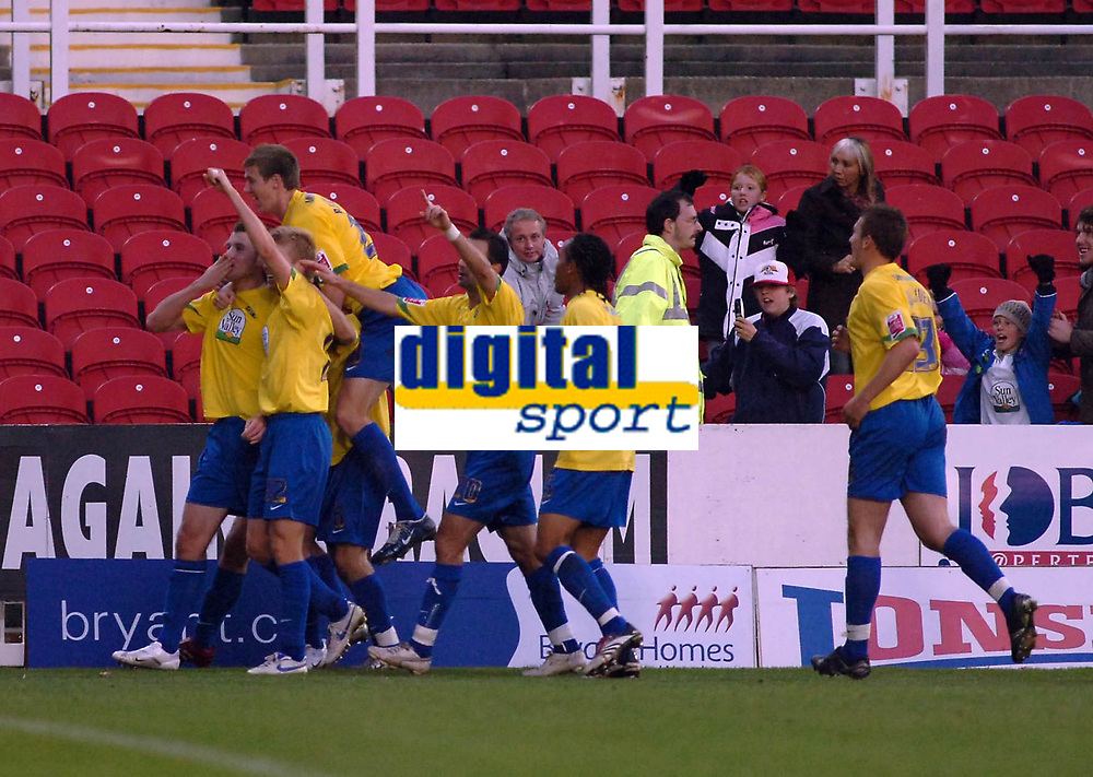Photo: Kevin Poolman.<br />Swindon Town v Hereford United. Coca Cola League 2. 04/11/2006. Hereford players celebrate their 2nd goal.