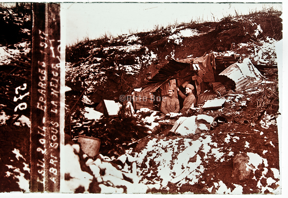 WW1 front trenches during winter with soldiers